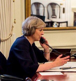 theresa may on phone